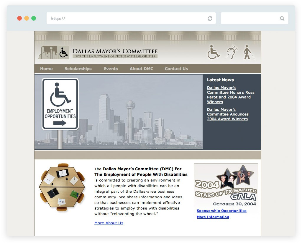 Dallas Mayor's Committee website design