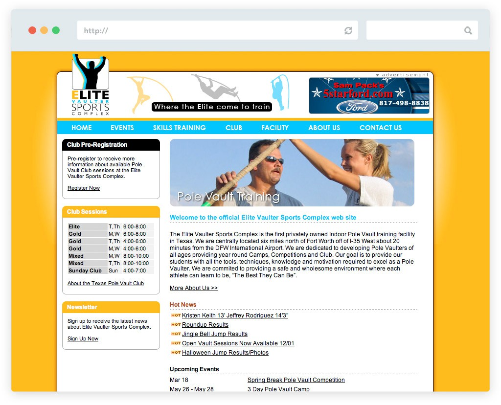 Elite Vaulter Sports Complex Website