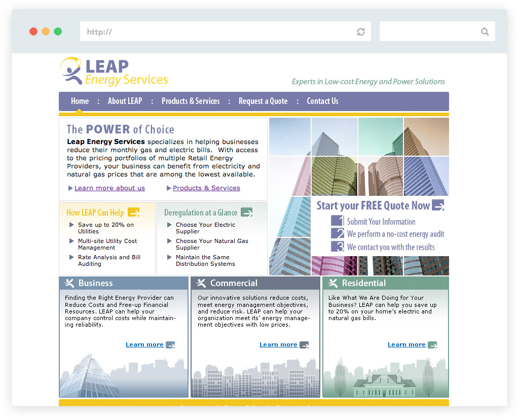 Leap Energy Services business website design