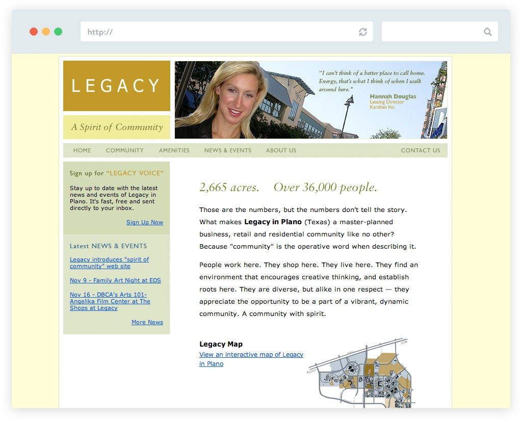 Legacy in Plano website design