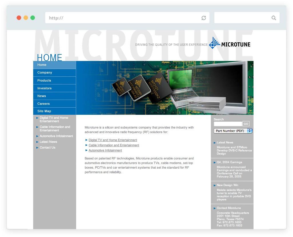 Microtune website design