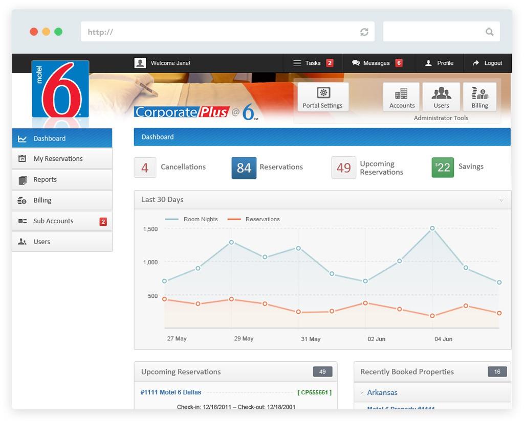 Motel 6 corporate portal website design screen