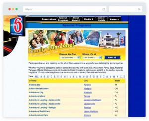 Website design Family Fun Zone feature for Motel 6 website