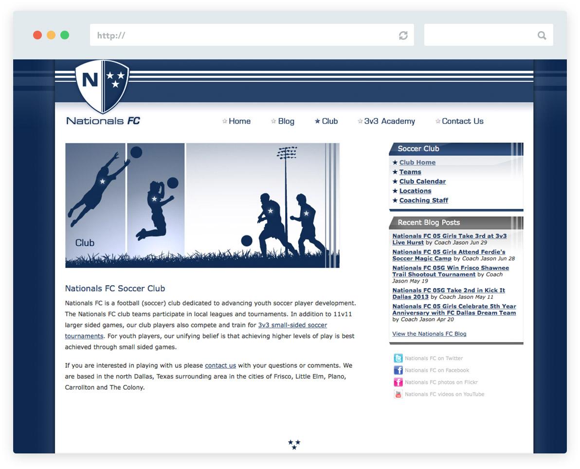 Nationals FC Soccer Club Web Design