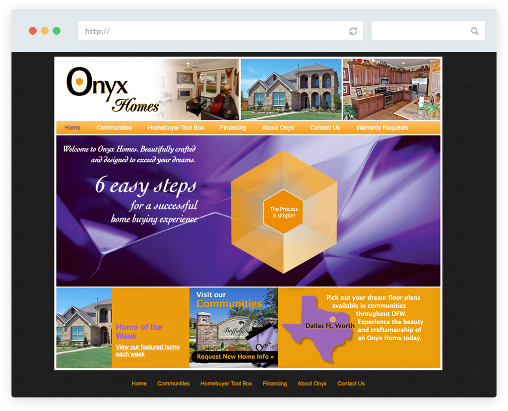 Website design onyx homes jb3designs for Home plan websites