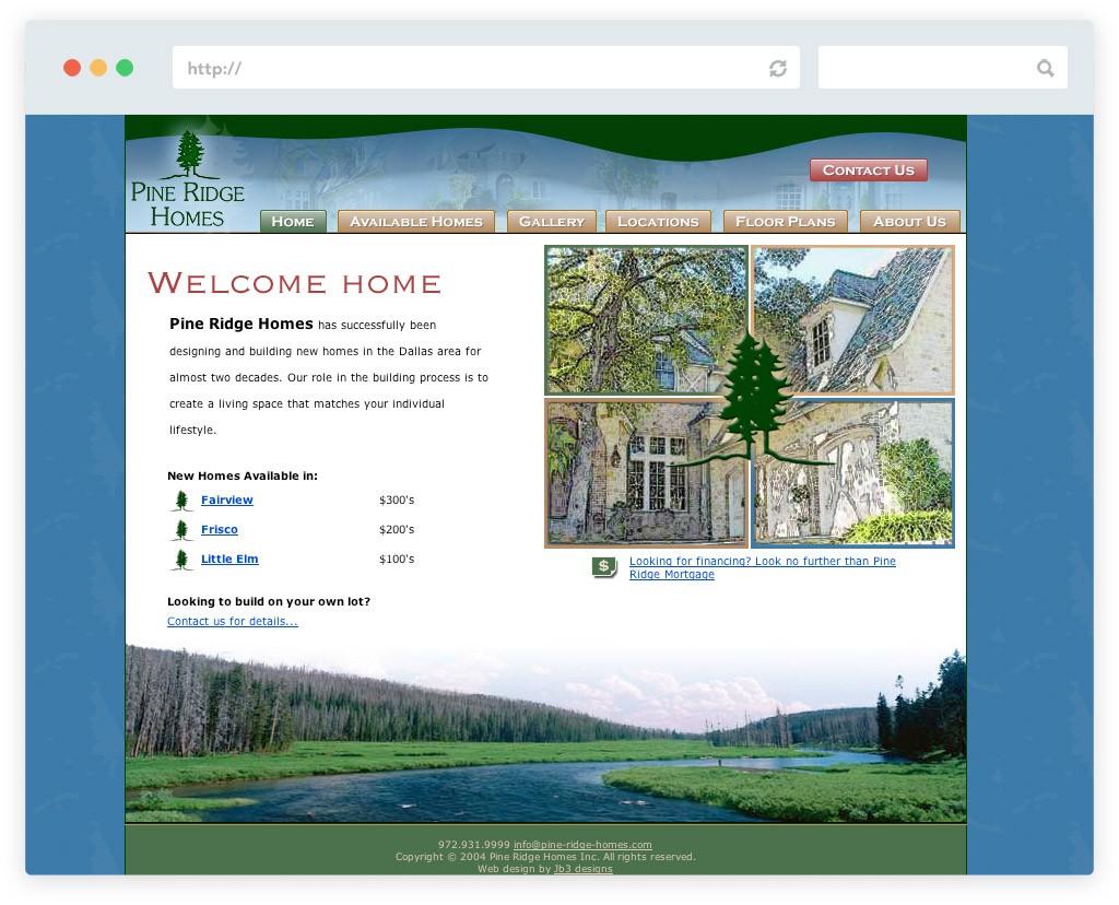 Pine Ridge Homes legacy website design for home builder