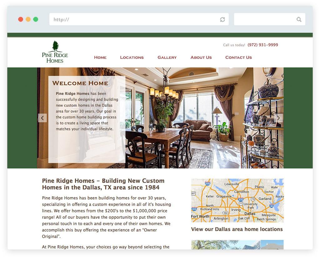 Pine Ridge Homes home builder business website design