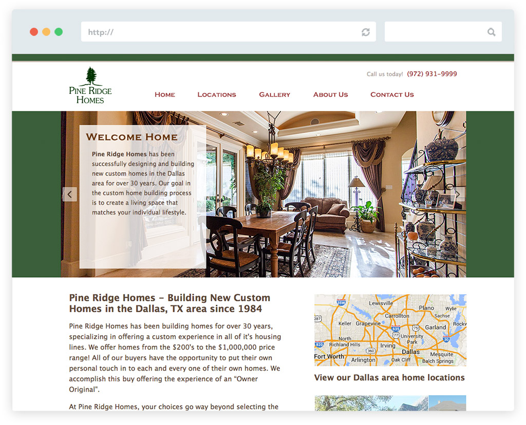 Home builder website design in frisco tx pine ridge An website