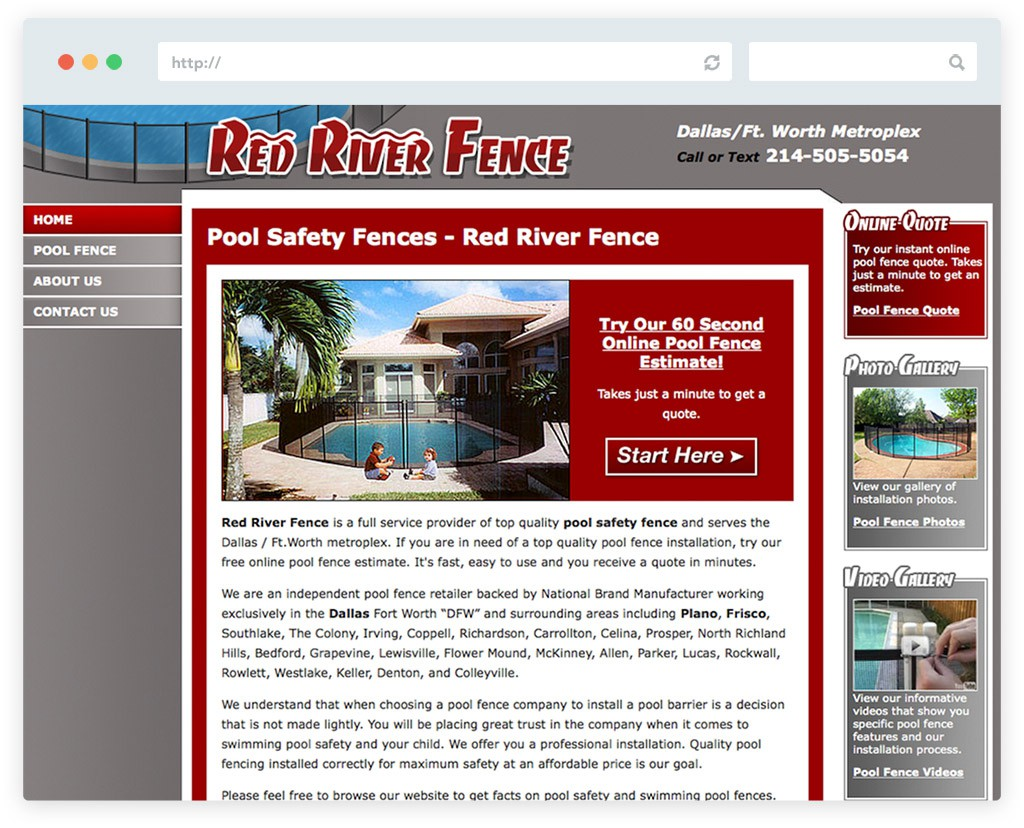 Website design red river fence jb3designs for Pool design website