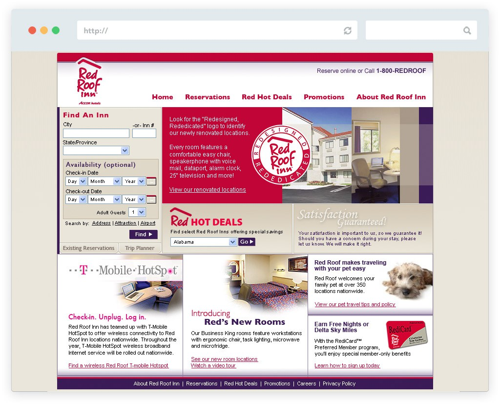 Red Roof Inn website design