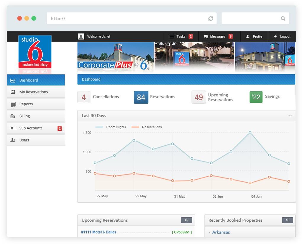 Studio 6 corporate portal website design screen