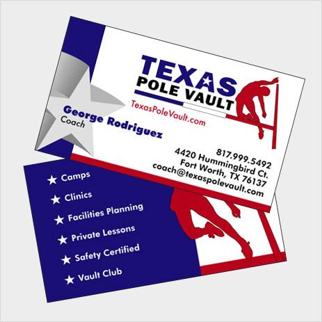 Logo design business card design texas pole vault jb3designs tx texas pole vault business card colourmoves