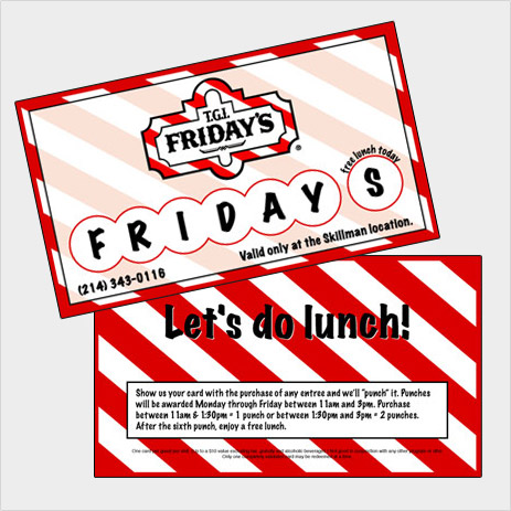 TGI Friday's business card design