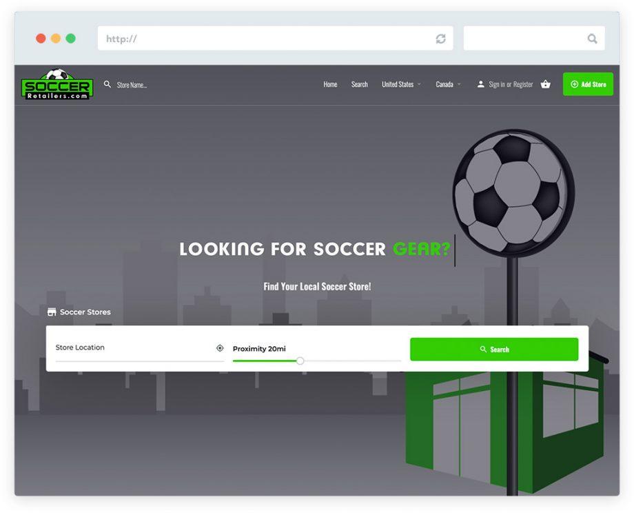 Soccer Retailers website design