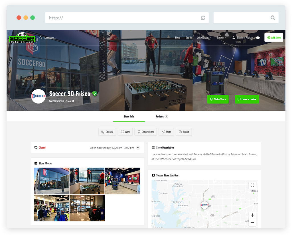 Soccer Retailers website store