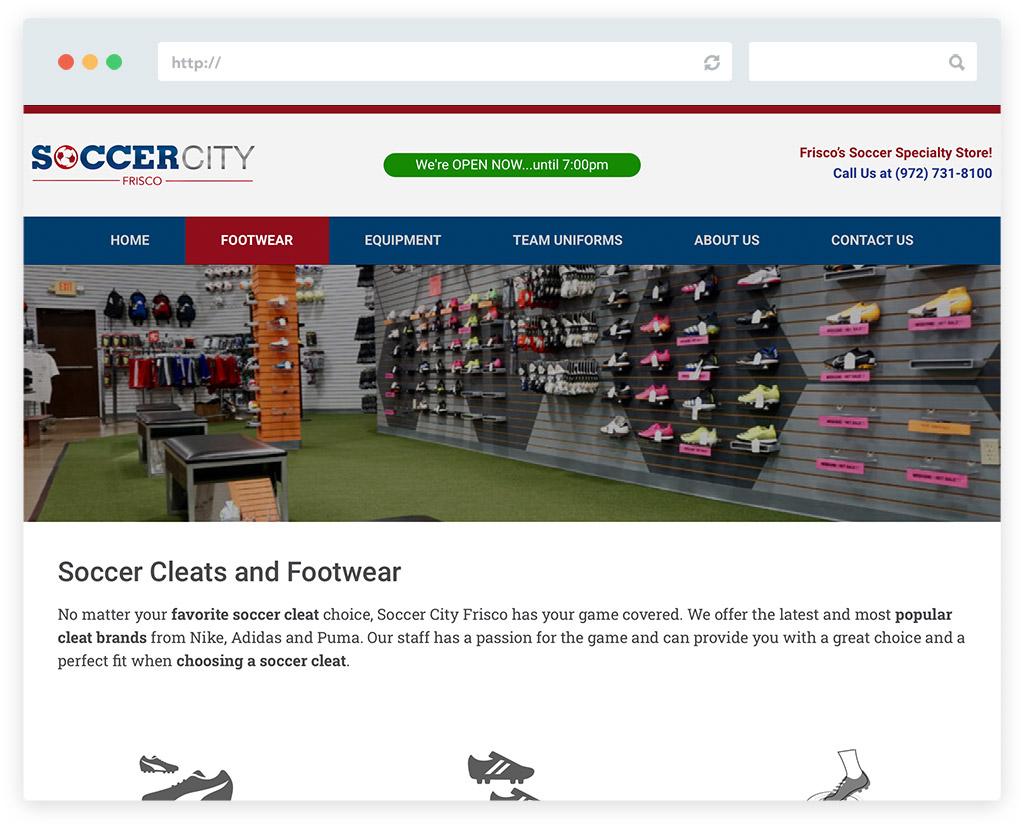 Soccer City Frisco Website Design Footwear Page